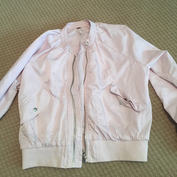 Free People Jackets & Blazers - Free People Light Pink Bomber Jacket